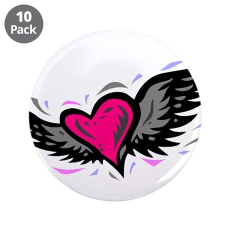 "HEART & WINGS {1} : pink/gray 3.5"" Button (10 pack"