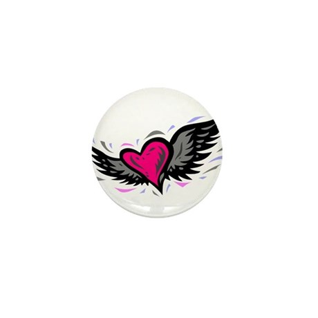 HEART & WINGS {1} : pink/gray Mini Button