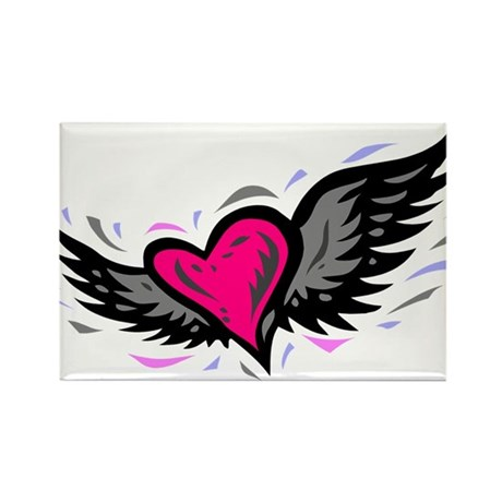 HEART & WINGS {1} : pink/gray Rectangle Magnet