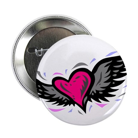 "HEART & WINGS {1} : pink/gray 2.25"" Button (100 pa"