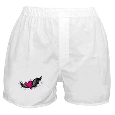 HEART & WINGS {1} : pink/gray Boxer Shorts