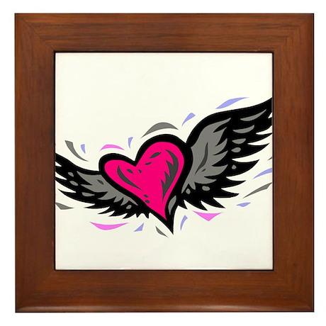 HEART & WINGS {1} : pink/gray Framed Tile