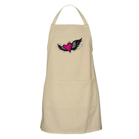 HEART & WINGS {1} : pink/gray Apron