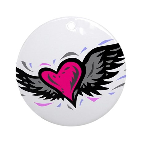 HEART & WINGS {1} : pink/gray Ornament (Round)