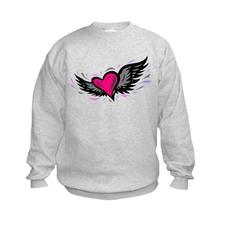 HEART & WINGS {1} : pink/gray Kids Sweatshirt