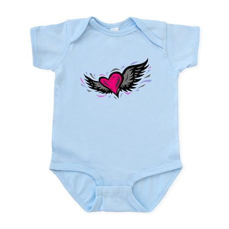 HEART & WINGS {1} : pink/gray Infant Bodysuit