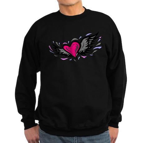 HEART & WINGS {1} : pink/gray Sweatshirt (dark)