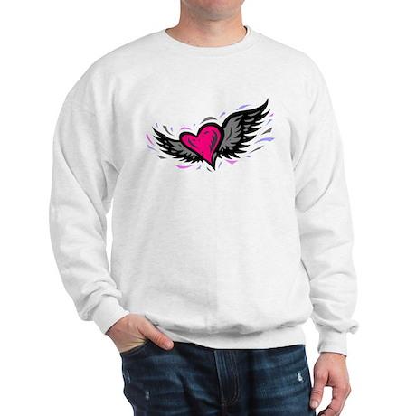 HEART & WINGS {1} : pink/gray Sweatshirt
