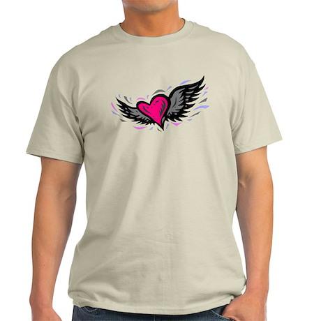 HEART & WINGS {1} : pink/gray Light T-Shirt