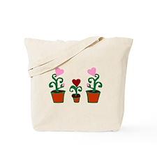 HEART FLOWER POT TRIO Tote Bag