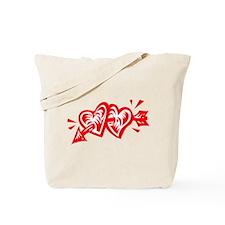HEART & ARROW {8} : red/white Tote Bag