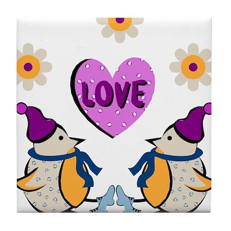 LOVE PENQUINS Tile Coaster