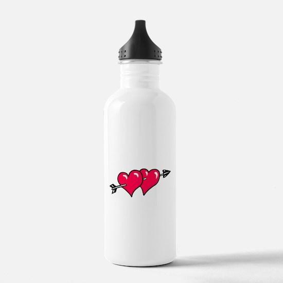 HEART & ARROW {10} : red Water Bottle