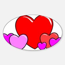 HEARTS {25} Sticker (Oval)