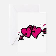 HEARTS & ARROW {11} : pink/bl Greeting Card