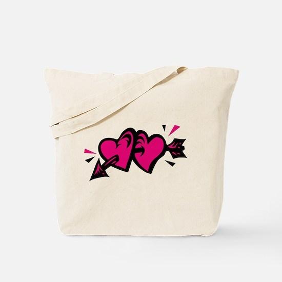HEARTS & ARROW {11} : pink/bl Tote Bag
