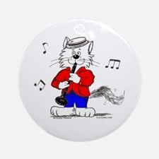 Catoons™ Clarinet Cat Ornament (Round)