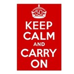 50th Birthday Keep Calm Postcards (Package of 8)