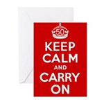 50th Birthday Keep Calm Greeting Cards (Pk of 10)