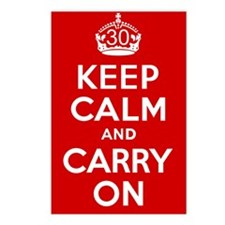 30th Birthday Keep Calm Postcards (Package of 8)