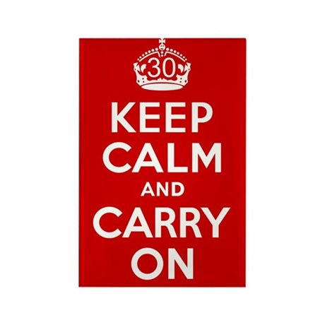 30th Birthday Keep Calm Rectangle Magnet (10 pack)