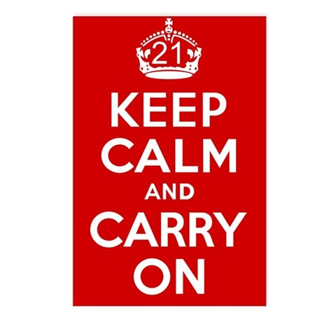 21st Birthday Keep Calm Postcards (Package of 8)