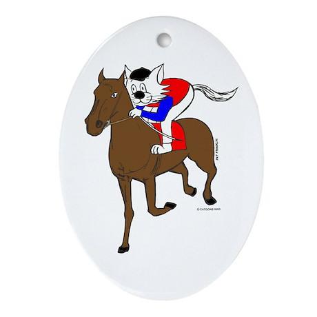 Jockey Cat Home Decor Ornament (Oval)