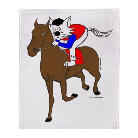 Jockey Cat Home Decor Throw Blanket