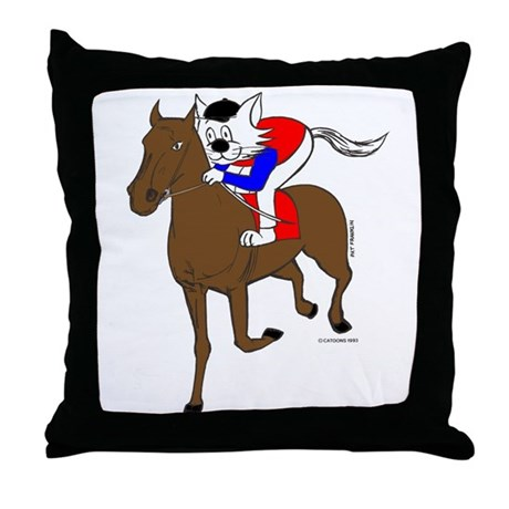Jockey cat home decor throw pillow by catoonsincolor for Cat decorations home