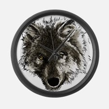 Wolf Portrait Large Wall Clock