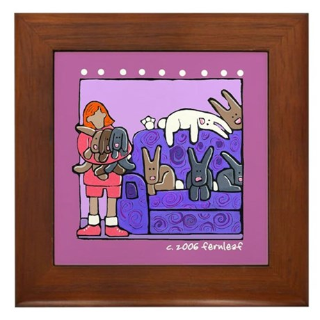 A Bunny, Rabbit House Framed Tile