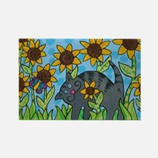 Cat in the Sunflowers Rectangle Magnet