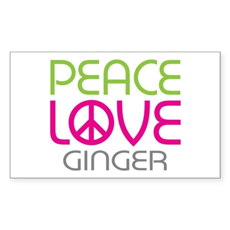 Peace Love Ginger Sticker (Rectangle)