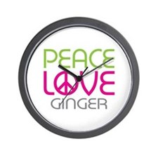 Peace Love Ginger Wall Clock