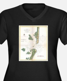 Vintage Map of The Barnegat Inle Plus Size T-Shirt