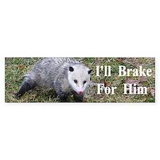 Possum -Braking for Him Car Sticker