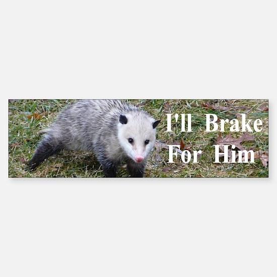 Possum -Braking for Him Sticker (Bumper)
