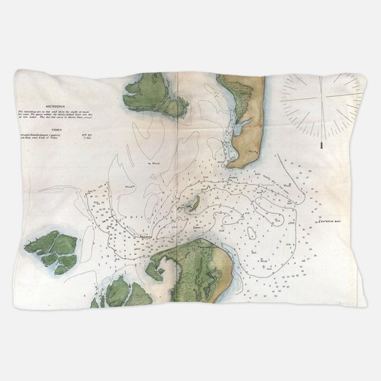Vintage Map of The Barnegat Inlet (186 Pillow Case