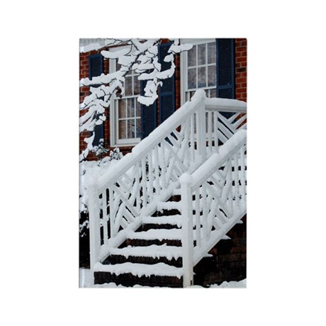 Snowy Staircase Rectangle Magnet