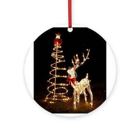 Lighted Reindeer Ornament (Round)