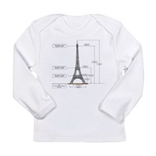 Dimensions of Eiffel Tower Long Sleeve Infant T-Sh