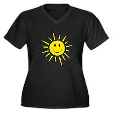Smile Face Sun Women's Plus Size V-Neck Dark T-Shi