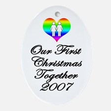Lesbian 1st Christmas Oval Ornament