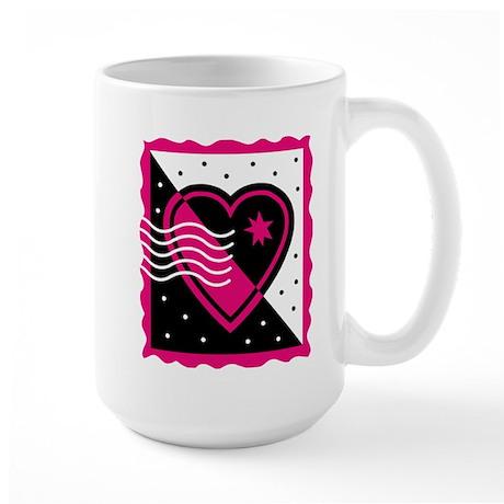 VALENTINE STAMP : pink/black Large Mug