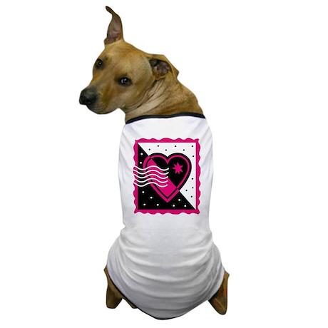 VALENTINE STAMP : pink/black Dog T-Shirt