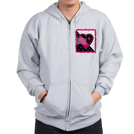 VALENTINE STAMP : pink/black Zip Hoodie