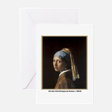 Vermeer Girl with Pearl Earring Greeting Cards (Pa