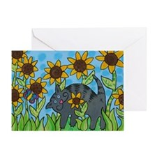 Cat in the Sunflowers Greeting Card