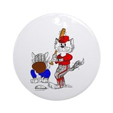 Catoons™ Baseball Batter Cat Ornament (Round)