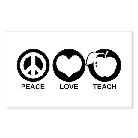 Peace Love Teach Sticker (Rectangle)